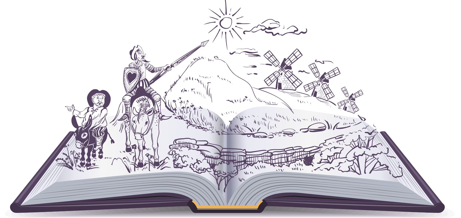Image of an open book with an illustration of Don Quioxte emerging from the pages.