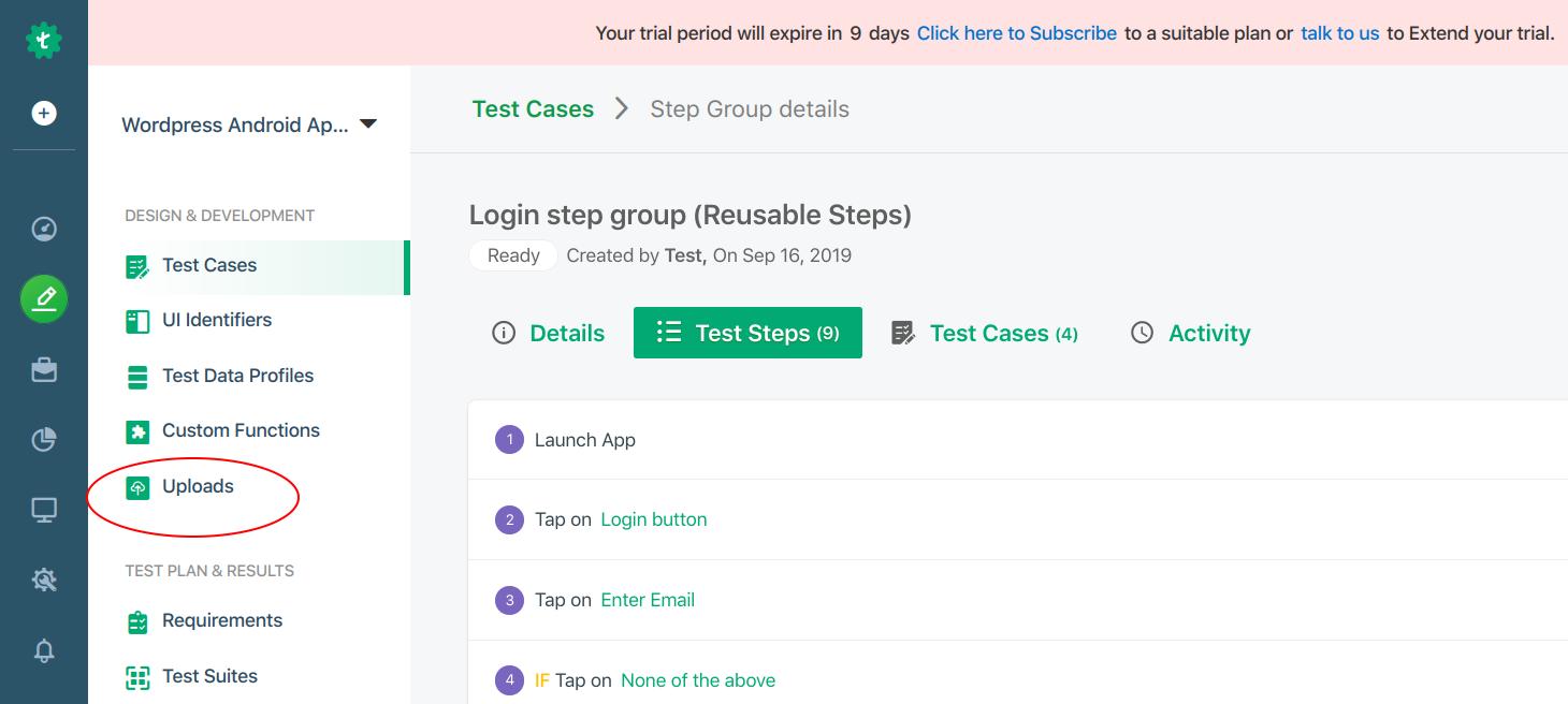 Uploading the App for Testing