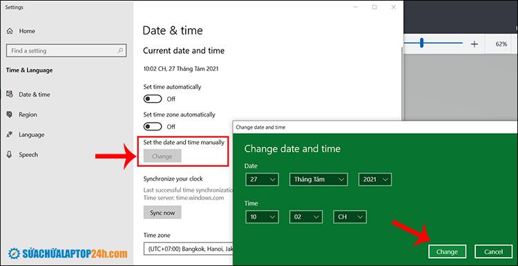 Sau đó chỉnh ngày giờ đúng với hiện tại và click Change để hoàn tất