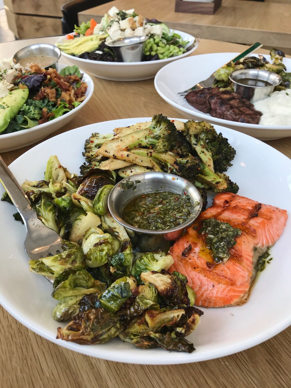 Marketplace Plate - Brussels, Broccoli, Salmon with Chimichurri