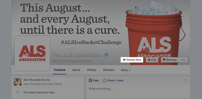 "Example of Facebook's new ""Donate Now"" button on a Facebook page"
