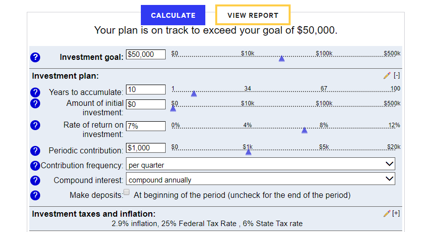 Bankrate Investment Calculator