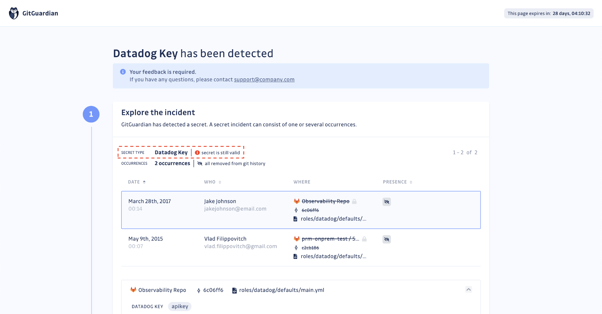 Developer feedback form — Validity check result is displayed next to the secret type
