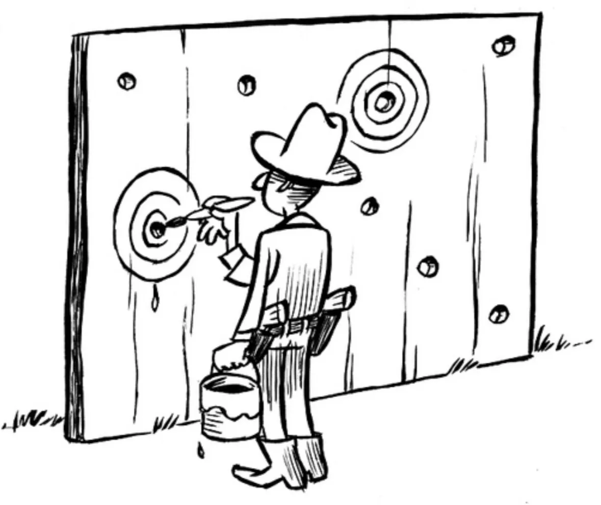 The Texas Sharpshooter comic illustrates how theorizing after the results are known dramatically overestimates the evidence for the findings. Illustration credit: Dirk-Jan Hoek.
