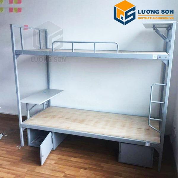 Giường tầng sắt có kèm tủ đồ và bàn học