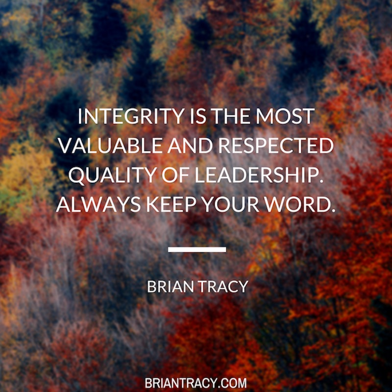 leadership quote by Brian Tracy written over tree tops