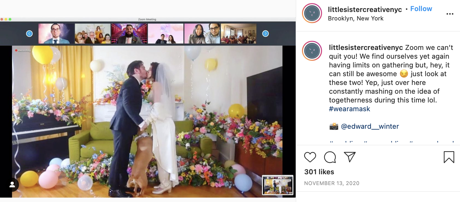 couple having a virtual wedding on Zoom