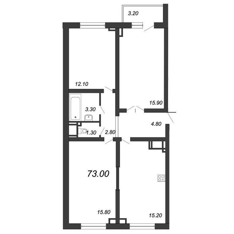 Двусторонняя 3-комнатная квартира