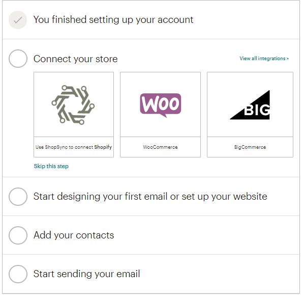 dashboard inicial de configuração de conta do MailChimp