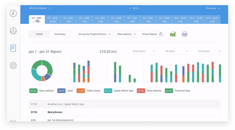 Hours time tracking app screenshot