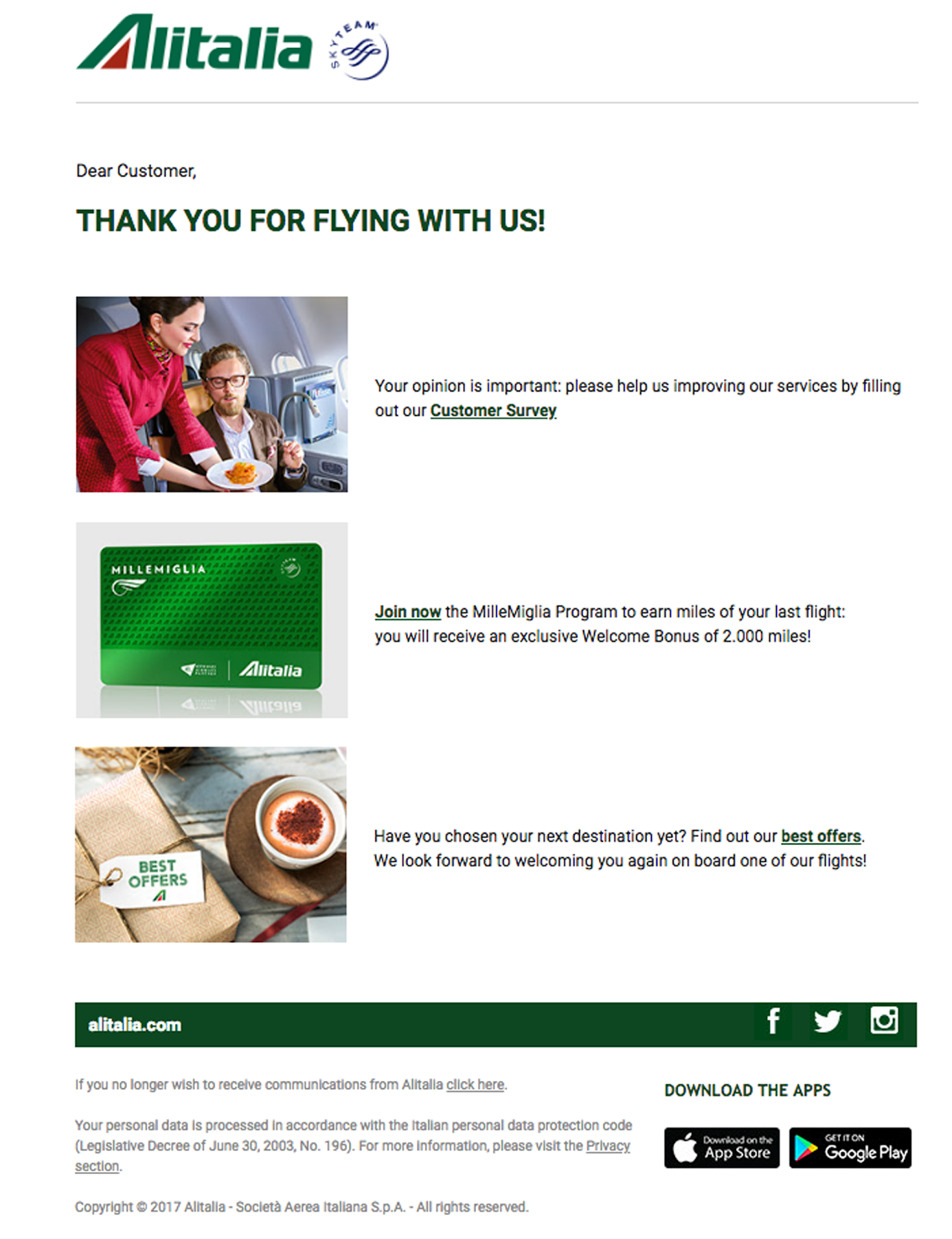 Alitalia thank you notes for customers for booking, flying, choosing us