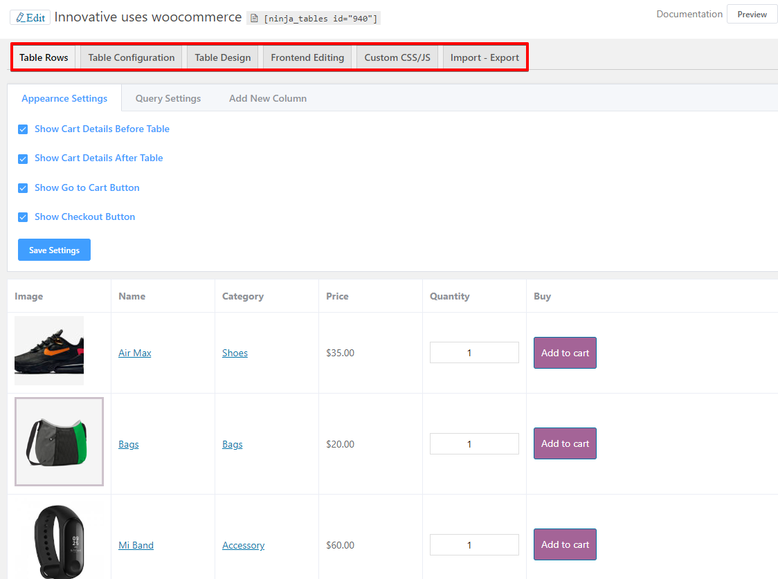 WooCommerce product table free