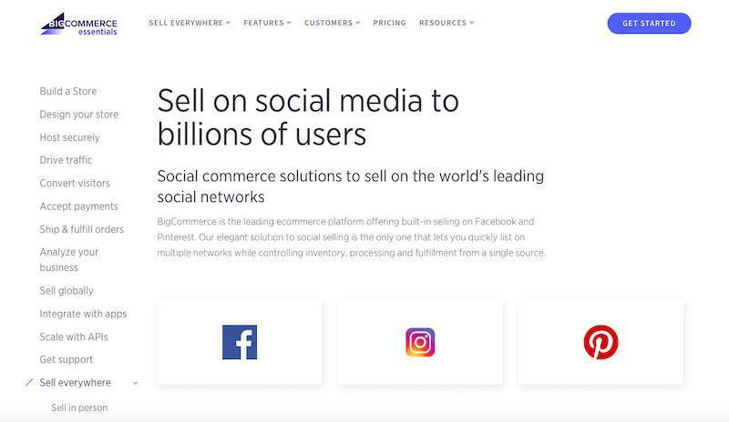 BigCommerce Social media integration