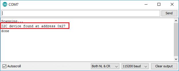 Kết quả Scan của I2C LCD
