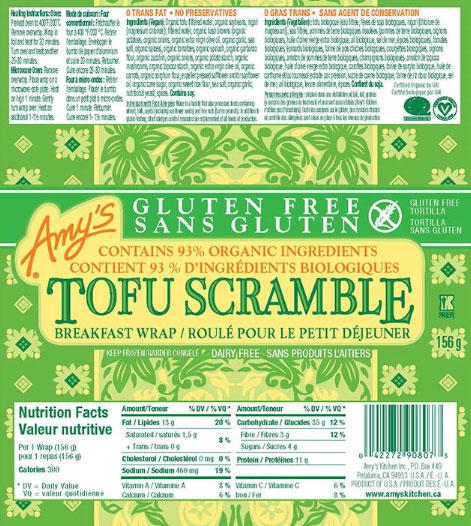Amy's brand Gluten Free Tofu Scramble Breakfast Wrap - 156 g