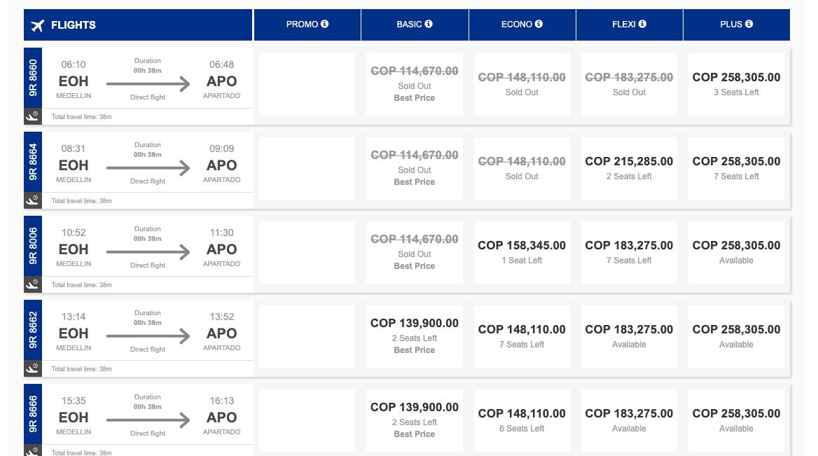 pantallazo tarifa de vuelo desde Medellín a Apartadó- satena