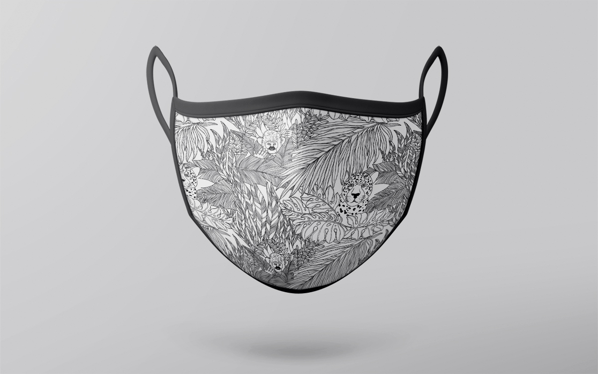 black and white jungle mask design