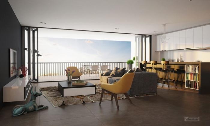 Thiết kế phòng khách thông phòng ăn nhìn ra ban công tuyệt đẹp