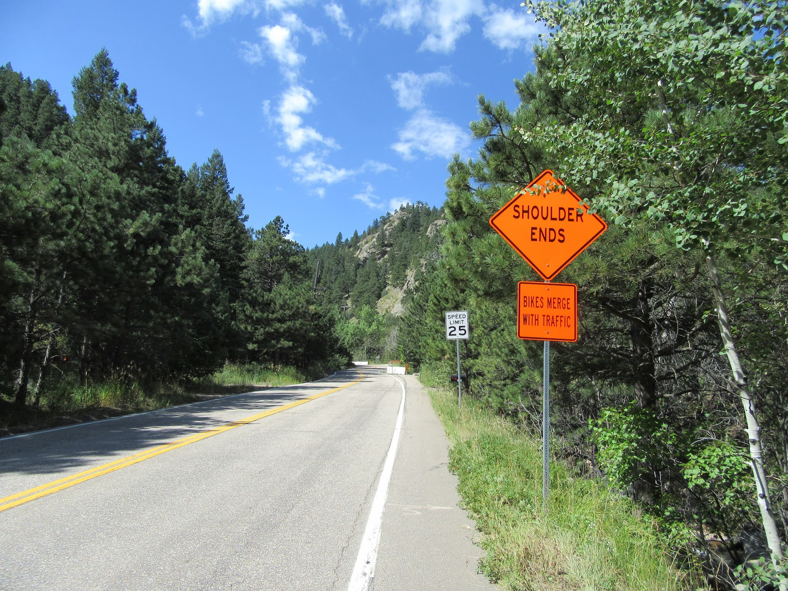 Bike climb of Left Hand Canyon - bike safety roadway sign