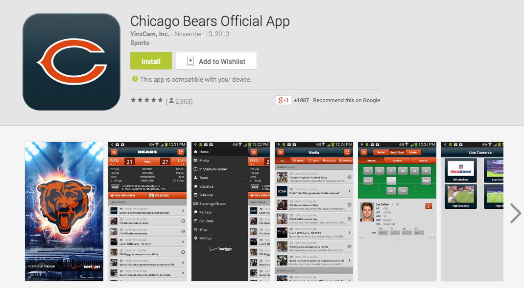 chicago bears mobile app
