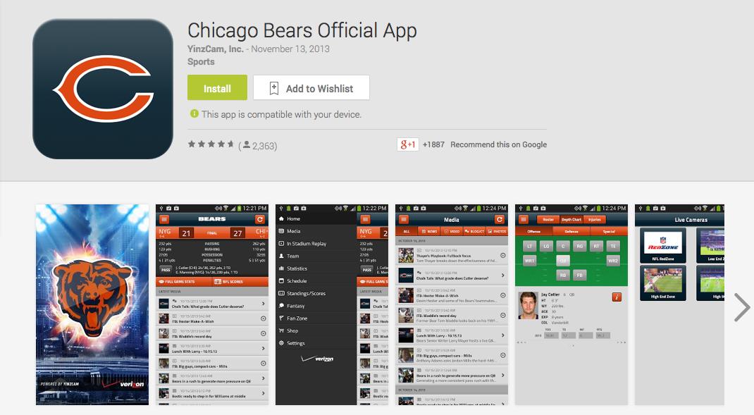 chicago bears mobile app