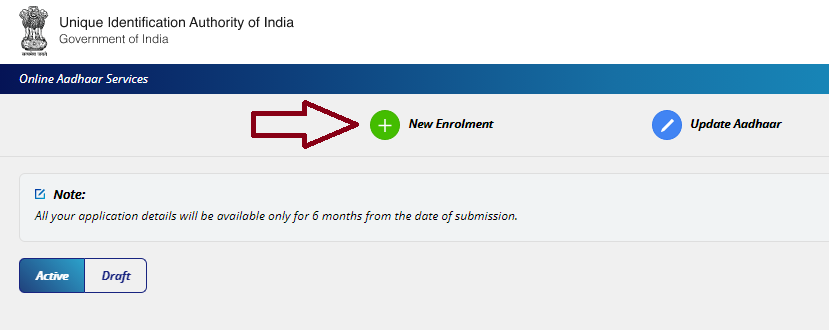 Select New Entrolment for New Aadhaar Card Apply Online