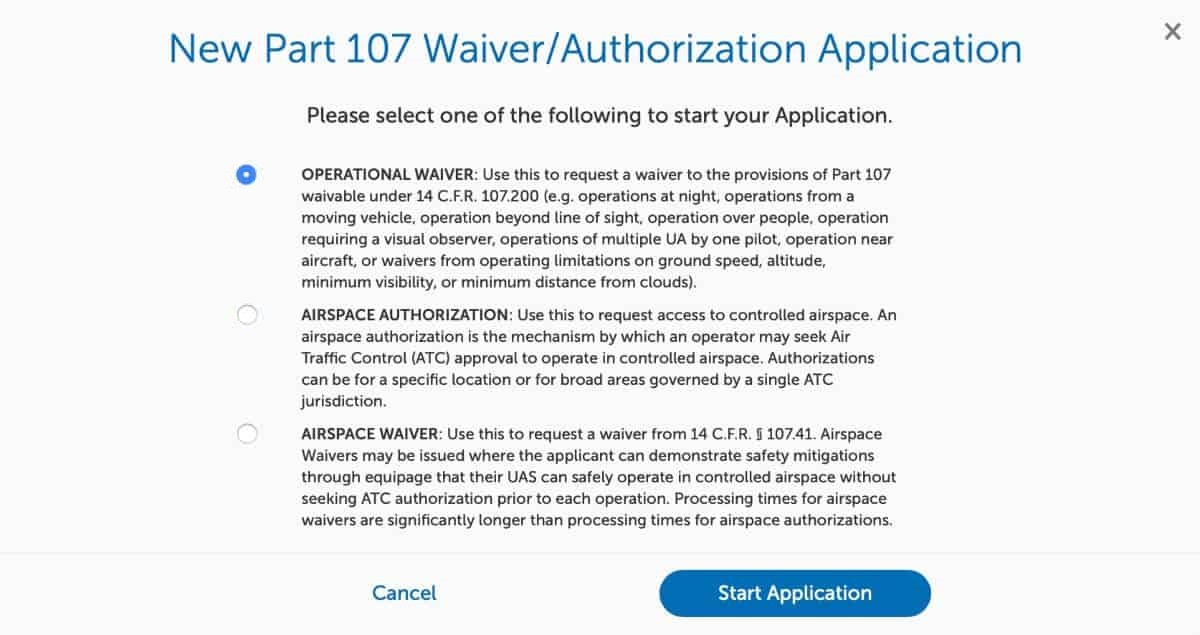 FAA drone waiver