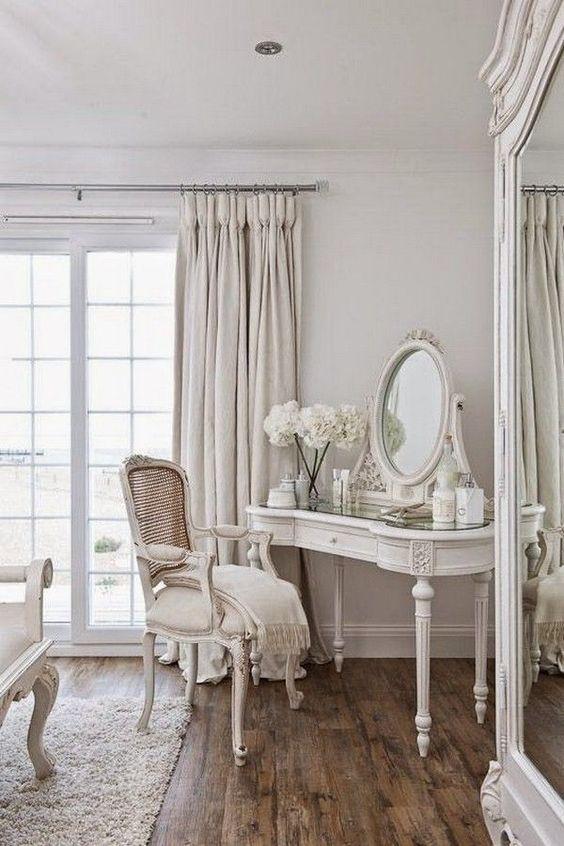 White Makeup Vanity in White Bedroom