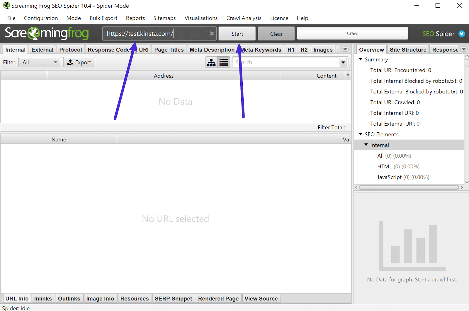 Add the URL of your website to Screaming Frog