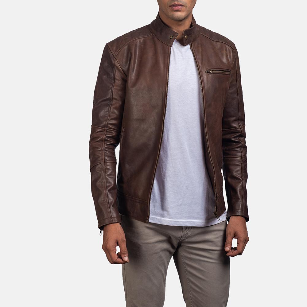 Dean brown leather biker jacket