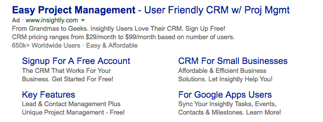 Insightly Bing ads example
