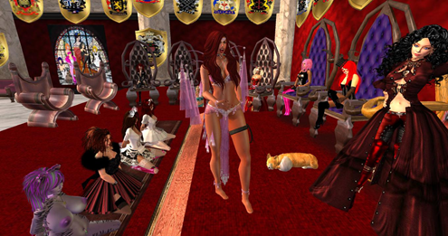 Queen Talin and Mistress Brittany at AYA's Throne Rom