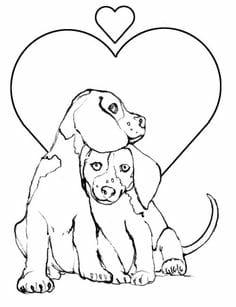 A valentine coloring page of dogs