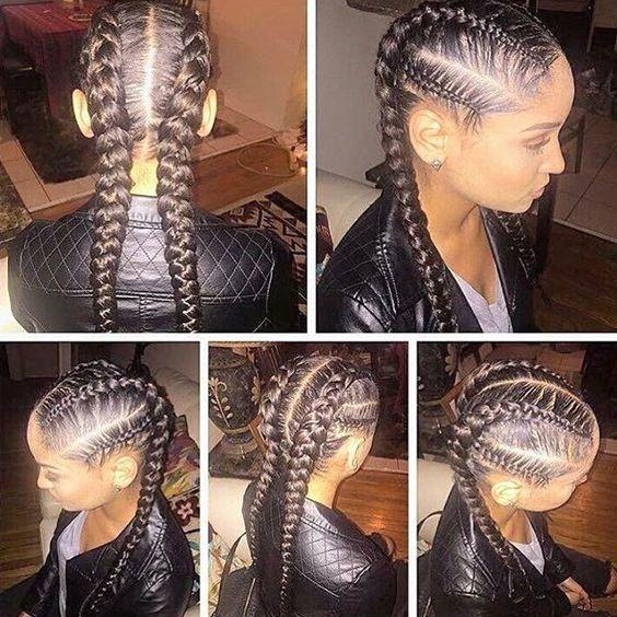 Two French Braids Black Hairstyles
