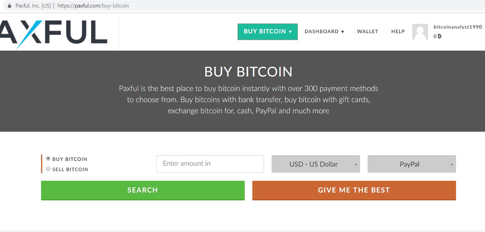 Paxful buy bitcoin form.