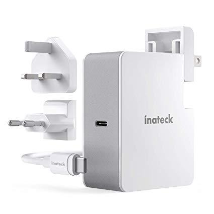 Inateck - Cargador USB C de 45 W con Cable USB C de 2 m, Fuente de alimentación Power Delivery Tipo C para portátil y Muchos Otros Dispositivos USB C, Color Blanco