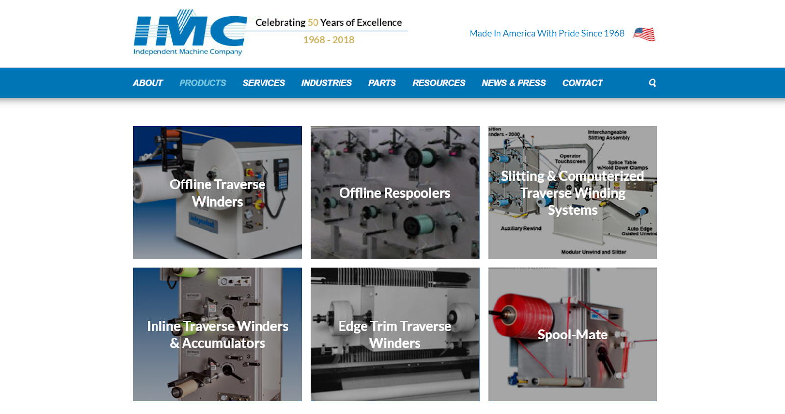 Products page example for a manufacturing website.