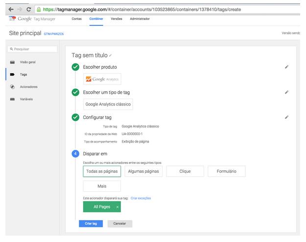 Google Tag Manager: Configuração