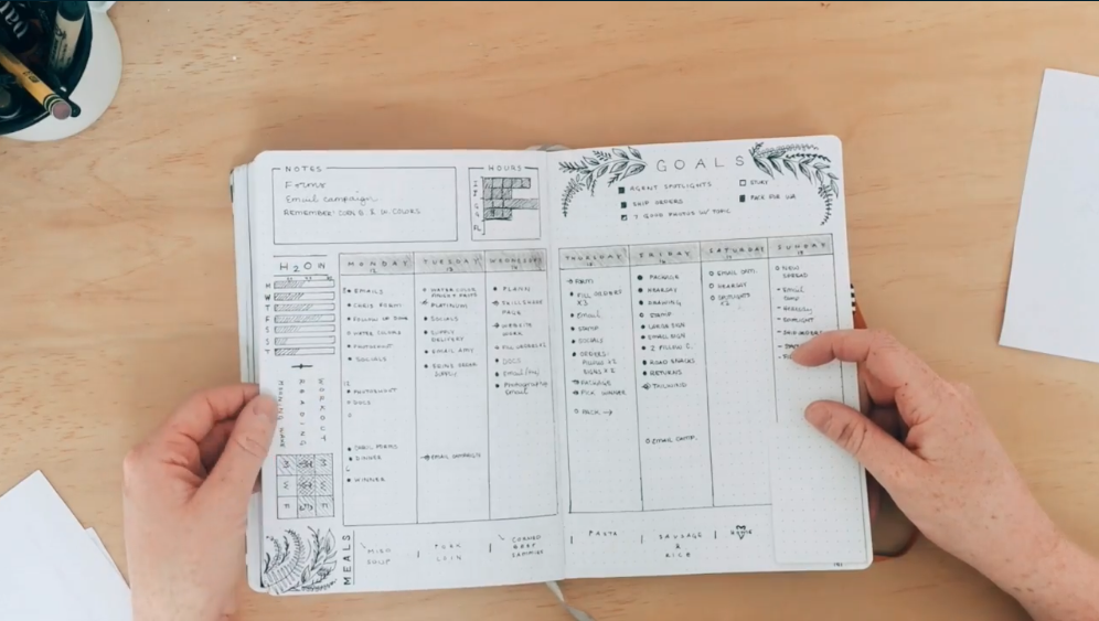 A bullet journal with a weekly schedule.