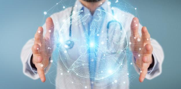 Doctor using europe map globe network hologram Premium Photo