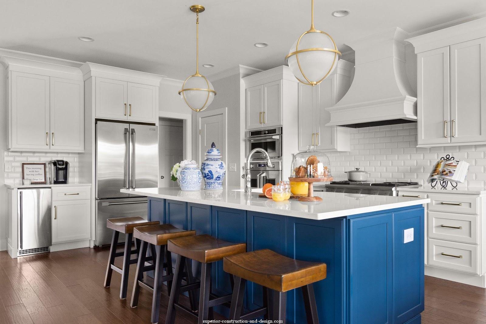 pebble point new build lake home kitchen design white blue crisp timeless traditional