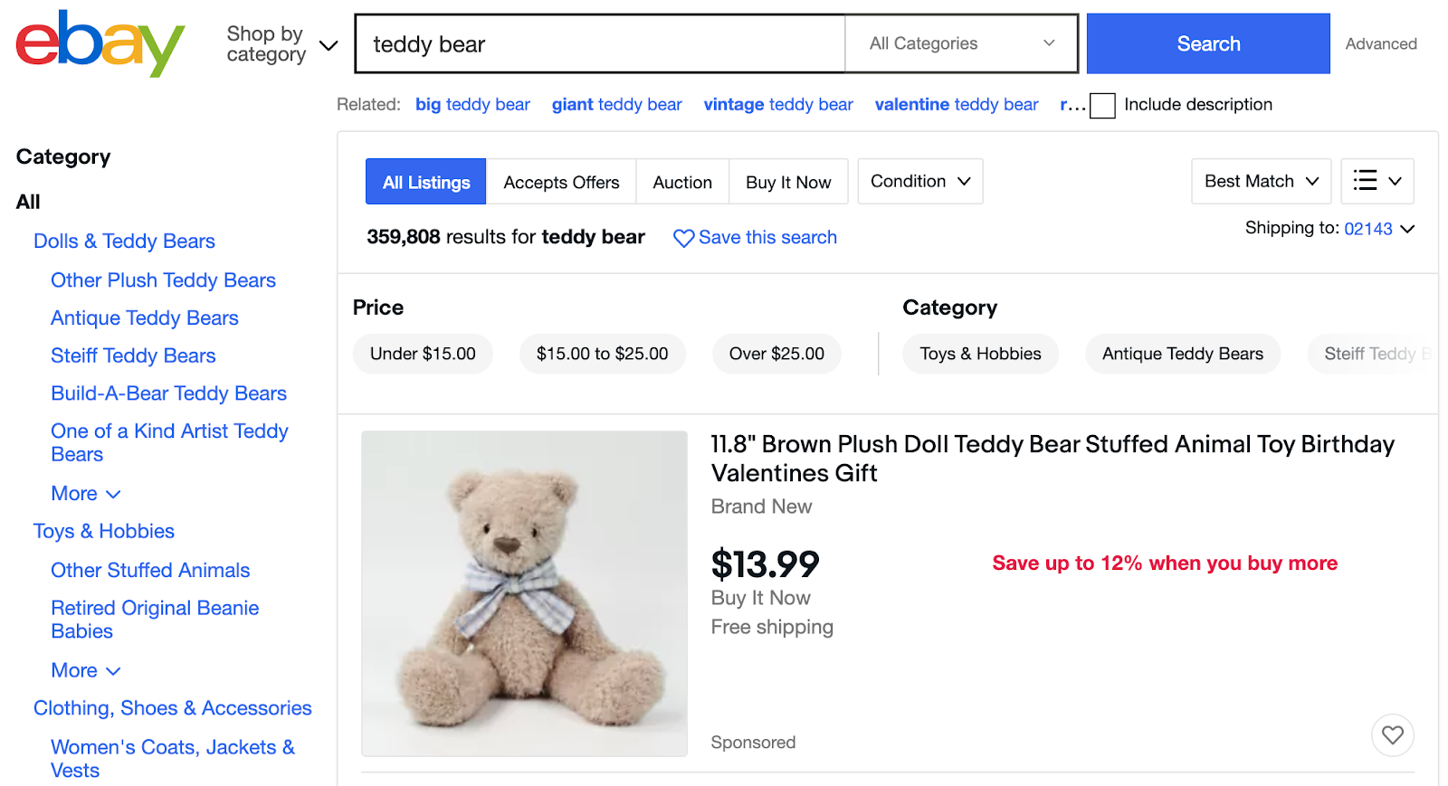 """eBay search page for """"teddy bear"""""""