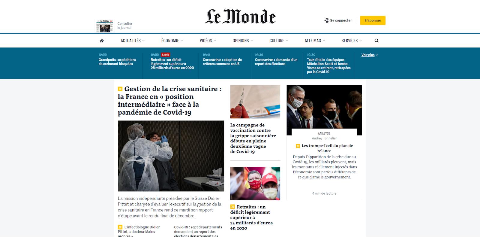 Page d'accueil lemonde.fr pour illustrer un exemple de web scraping
