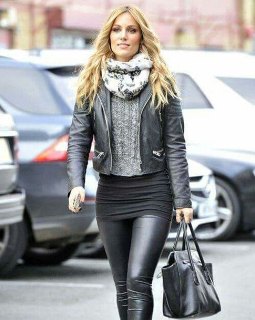street style  scarf with leather jacket
