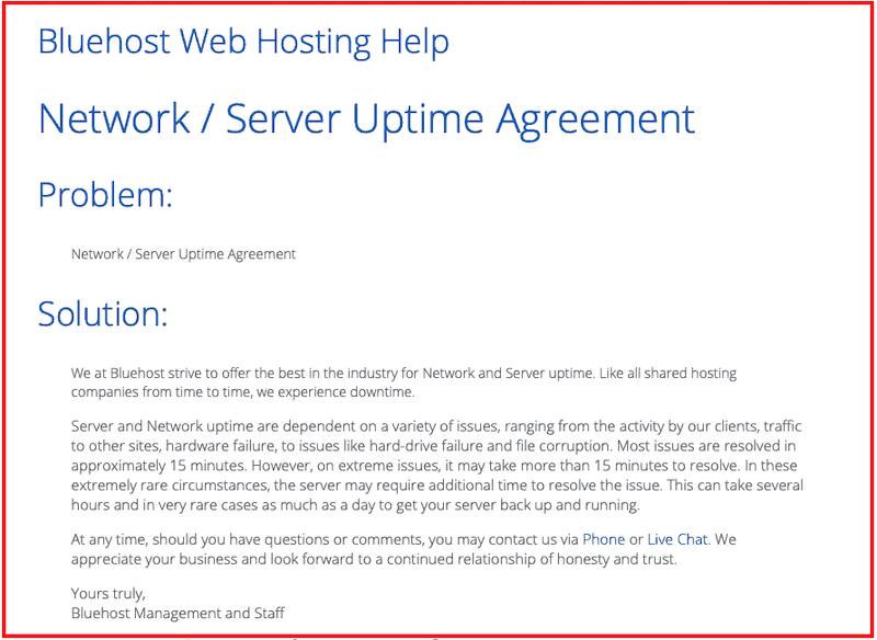 Bluehost server Uptime agreement