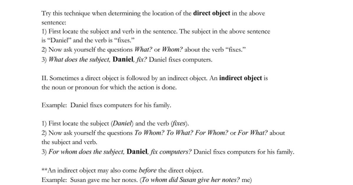 . Direct and Indirect Objects   Google Docs