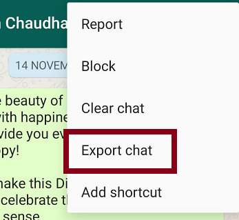 Click on Export Chat Option