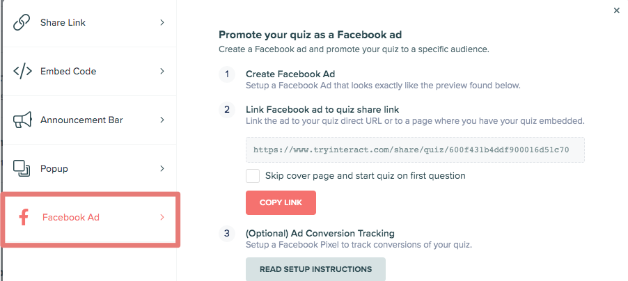 how to set up Facebook ad for quiz in Interact