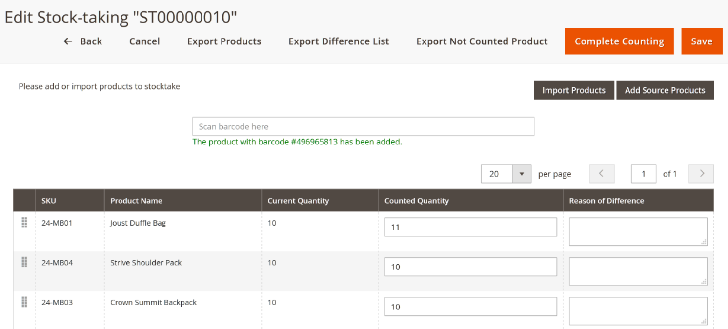 Adjust counted quantity with barcode, import, or manually