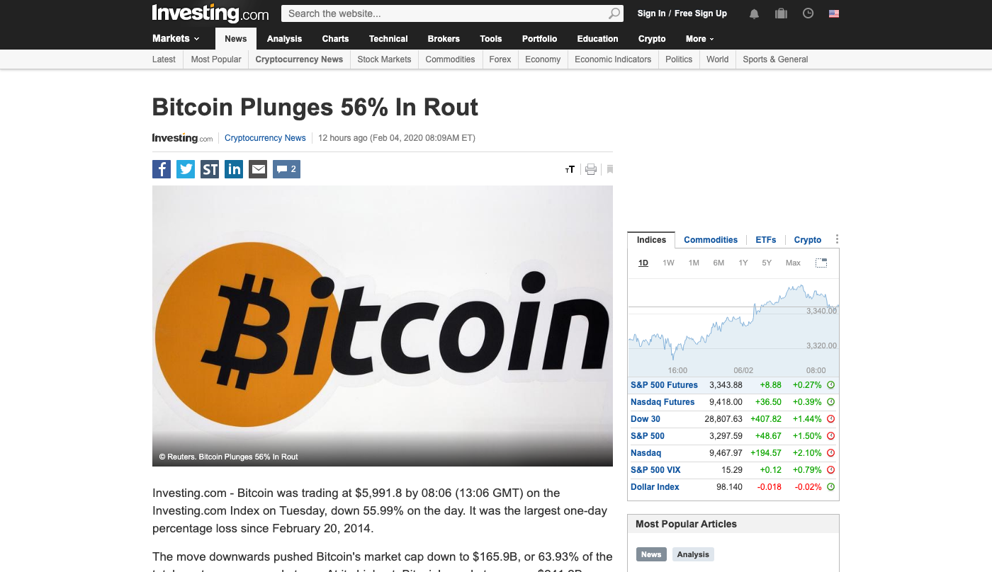 Screengrab of the deleted article on Investing.com